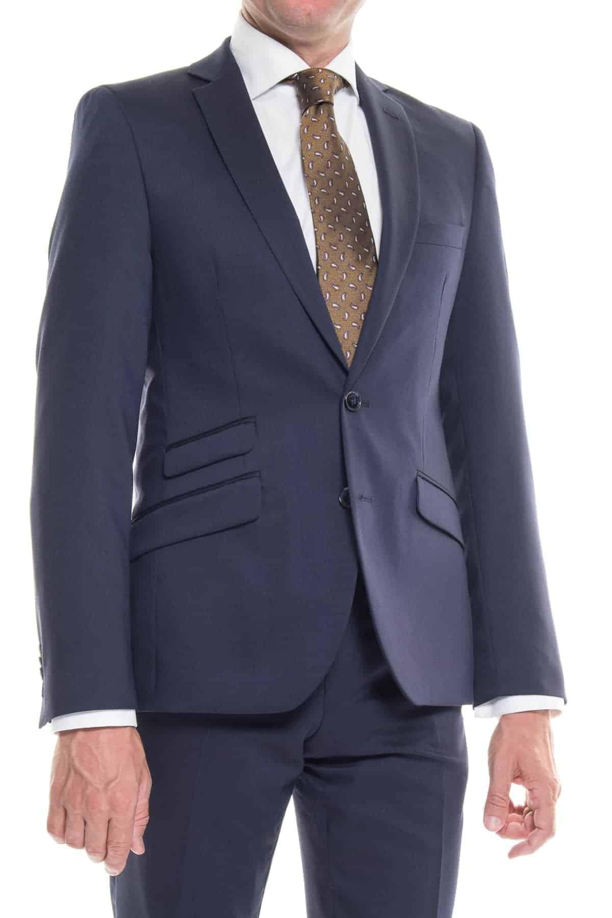 new product ec190 1f62f Anzug Silver blau strukturiert, Extra-Slim-Fit, Schurwoll-Mix,  Baukasten-Anzug, topmoderner Business-Anzug, Made in Europe