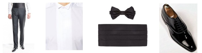 smokinghose hemd schleife kummerbund lackschuhe
